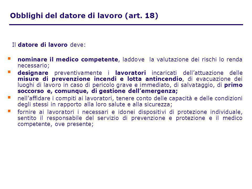 Il datore di lavoro deve: nominare il medico competente, laddove la valutazione dei rischi lo renda necessario; designare preventivamente i lavoratori