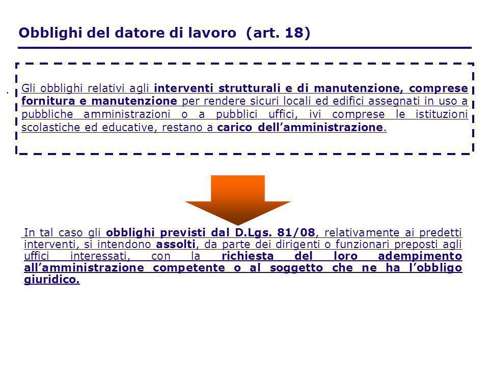 . In tal caso gli obblighi previsti dal D.Lgs. 81/08, relativamente ai predetti interventi, si intendono assolti, da parte dei dirigenti o funzionari