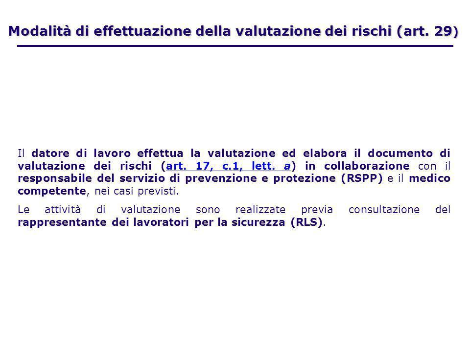 Modalità di effettuazione della valutazione dei rischi (art. 29 ) Il datore di lavoro effettua la valutazione ed elabora il documento di valutazione d