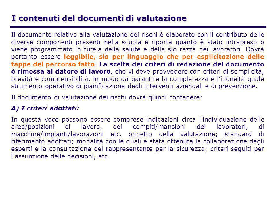 I contenuti del documenti di valutazione Il documento relativo alla valutazione dei rischi è elaborato con il contributo delle diverse componenti pres