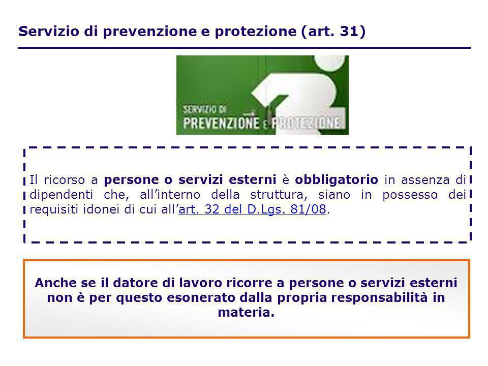 Servizio di prevenzione e protezione (art. 31) Il ricorso a persone o servizi esterni è obbligatorio in assenza di dipendenti che, allinterno della st