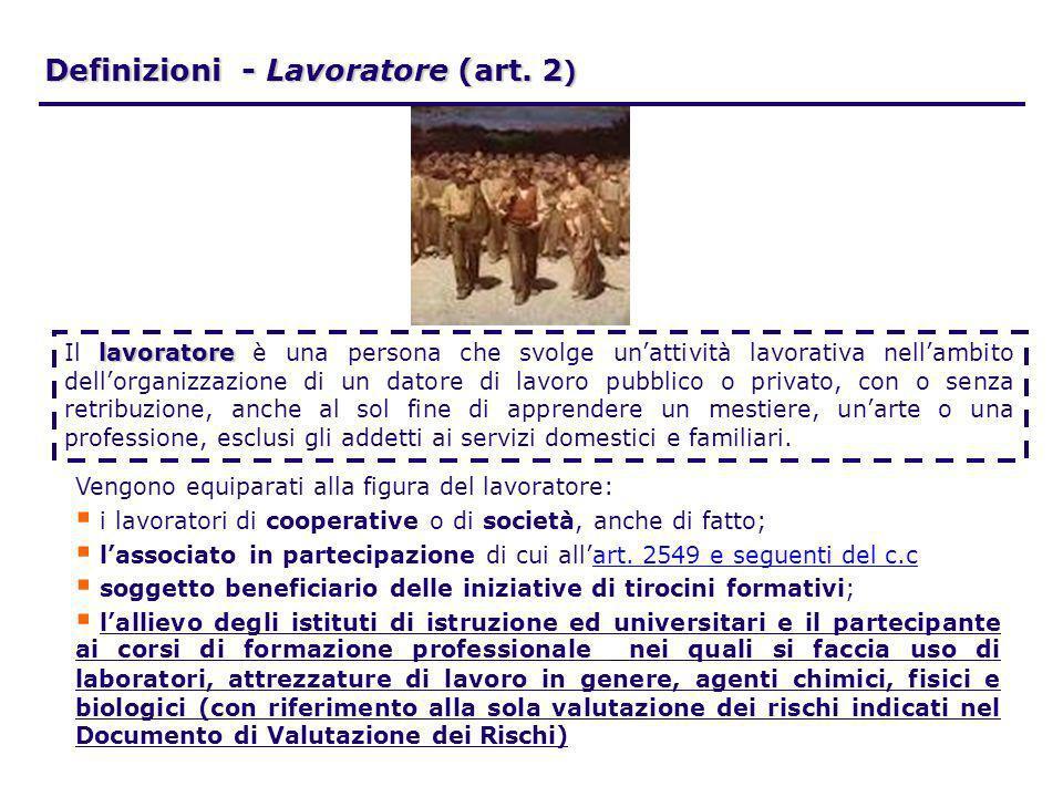 Definizioni - Lavoratore (art. 2 ) lavoratore Il lavoratore è una persona che svolge unattività lavorativa nellambito dellorganizzazione di un datore