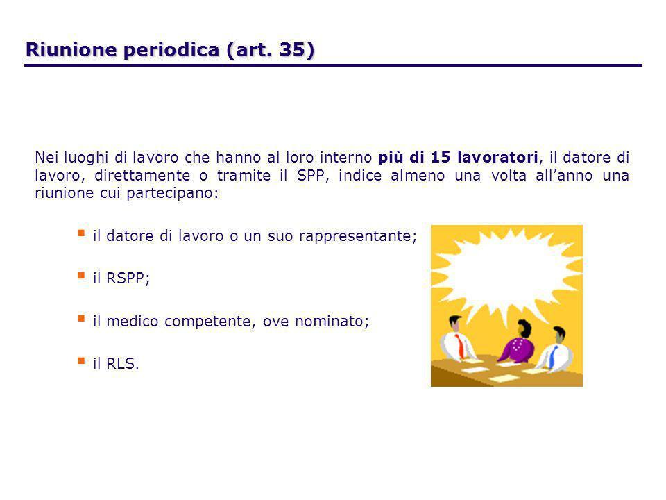 Riunione periodica (art. 35) Nei luoghi di lavoro che hanno al loro interno più di 15 lavoratori, il datore di lavoro, direttamente o tramite il SPP,