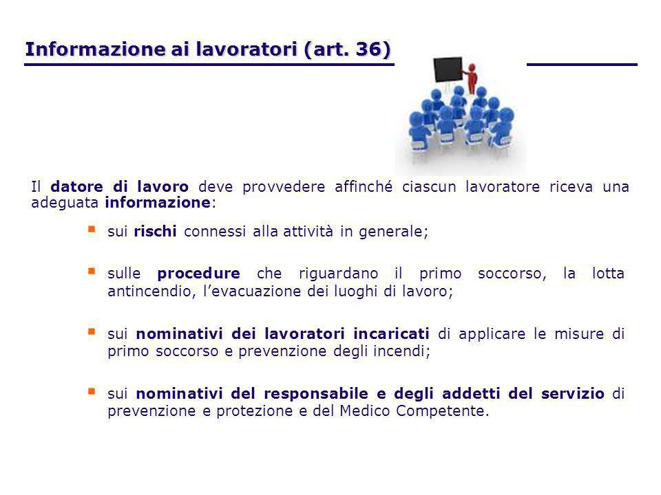 Informazione ai lavoratori (art. 36) sui rischi connessi alla attività in generale; sulle procedure che riguardano il primo soccorso, la lotta antince