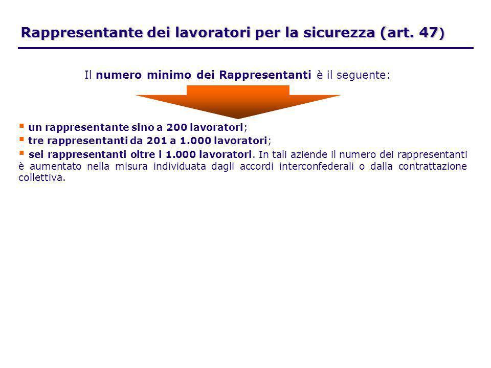 Rappresentante dei lavoratori per la sicurezza (art. 47 ) un rappresentante sino a 200 lavoratori; tre rappresentanti da 201 a 1.000 lavoratori; sei r
