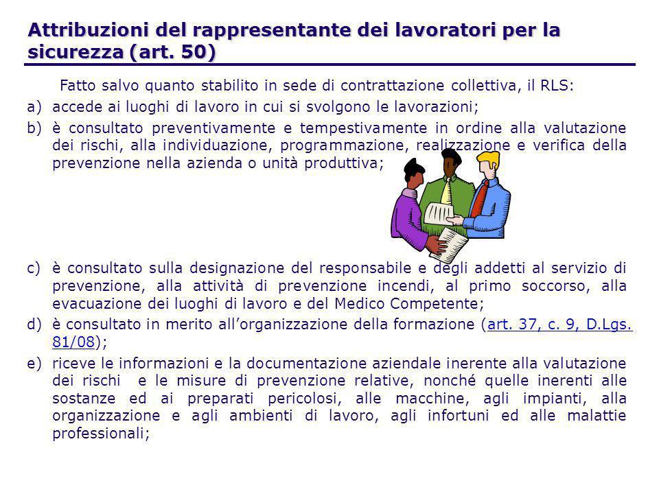Attribuzioni del rappresentante dei lavoratori per la sicurezza (art. 50) Fatto salvo quanto stabilito in sede di contrattazione collettiva, il RLS: a