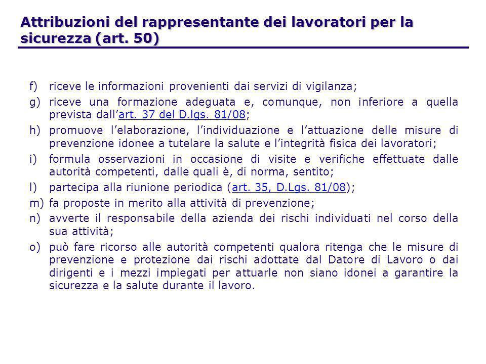 Attribuzioni del rappresentante dei lavoratori per la sicurezza (art. 50) f)riceve le informazioni provenienti dai servizi di vigilanza; g)riceve una