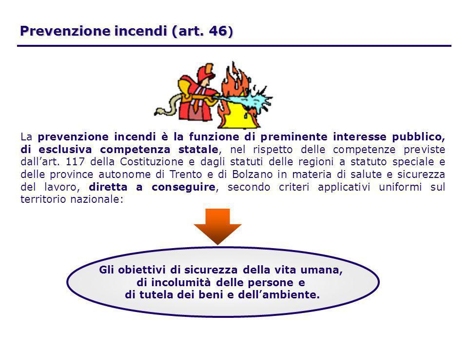 Prevenzione incendi (art. 46 ) La prevenzione incendi è la funzione di preminente interesse pubblico, di esclusiva competenza statale, nel rispetto de