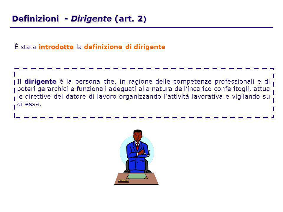 Definizioni - Dirigente (art. 2 ) dirigente Il dirigente è la persona che, in ragione delle competenze professionali e di poteri gerarchici e funziona
