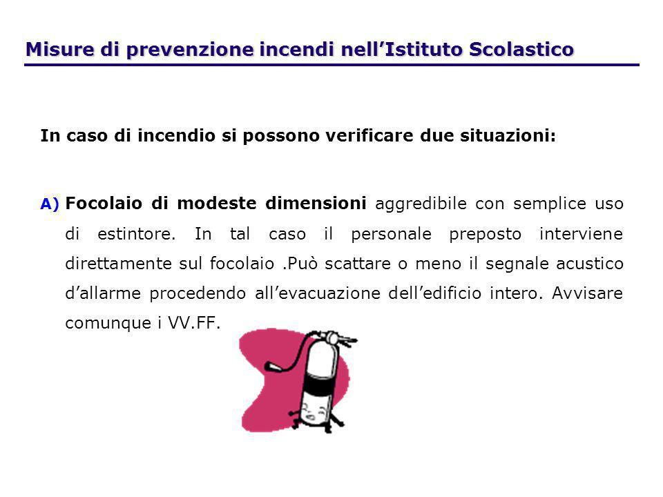 Misure di prevenzione incendi nellIstituto Scolastico In caso di incendio si possono verificare due situazioni: A) A) Focolaio di modeste dimensioni a