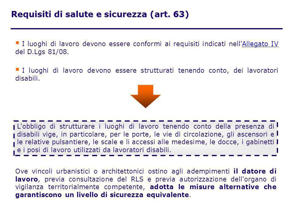 Requisiti di salute e sicurezza (art. 63) I luoghi di lavoro devono essere conformi ai requisiti indicati nell'Allegato IV del D.Lgs 81/08.Allegato IV