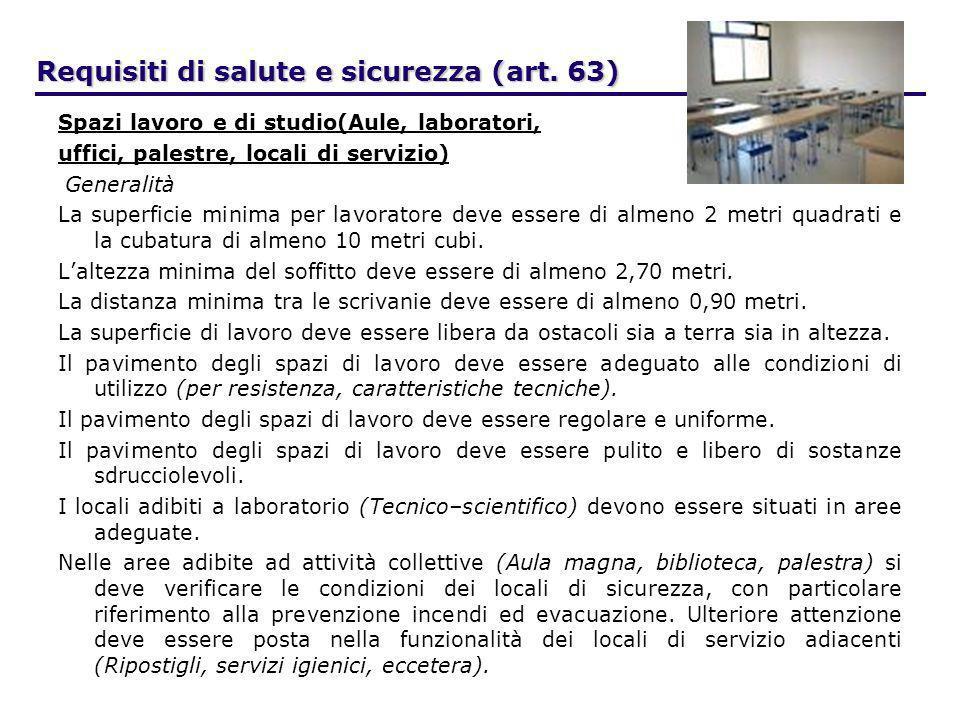 Requisiti di salute e sicurezza (art. 63) Spazi lavoro e di studio(Aule, laboratori, uffici, palestre, locali di servizio) Generalità La superficie mi