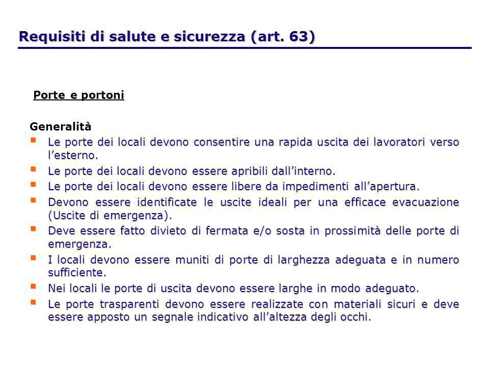 Requisiti di salute e sicurezza (art. 63) Porte e portoni Generalità Le porte dei locali devono consentire una rapida uscita dei lavoratori verso lest