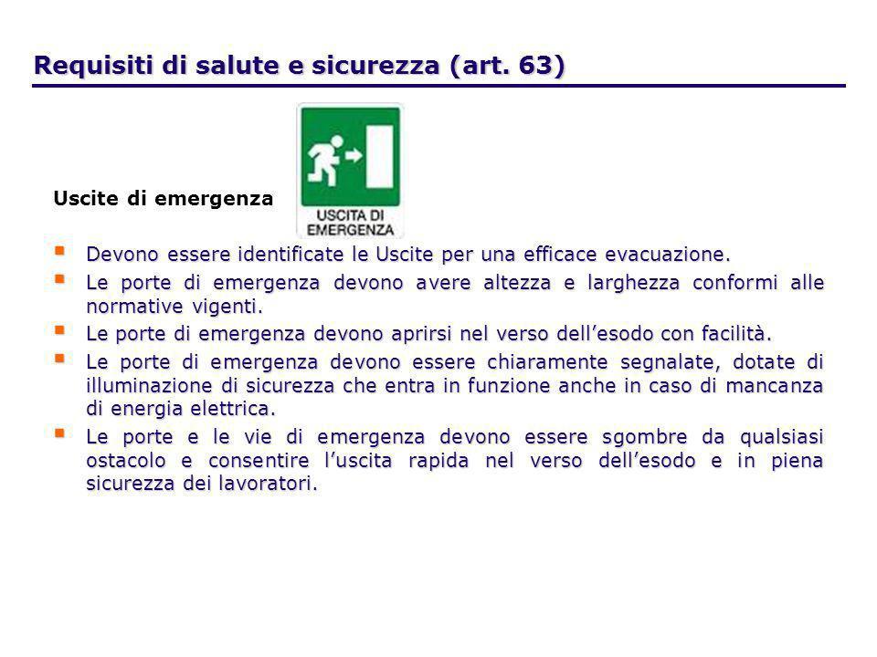 Requisiti di salute e sicurezza (art. 63) Uscite di emergenza Devono essere identificate le Uscite per una efficace evacuazione. Devono essere identif