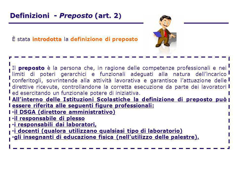 Definizioni - Preposto (art. 2 ) preposto Il preposto è la persona che, in ragione delle competenze professionali e nei limiti di poteri gerarchici e