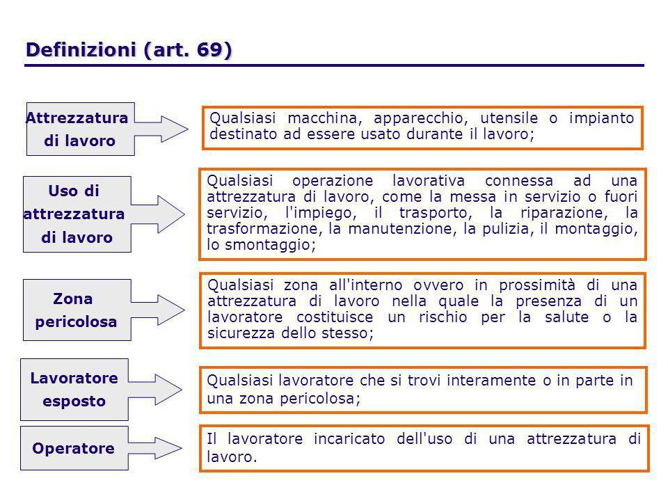Definizioni (art. 69) Attrezzatura di lavoro Qualsiasi macchina, apparecchio, utensile o impianto destinato ad essere usato durante il lavoro; Qualsia