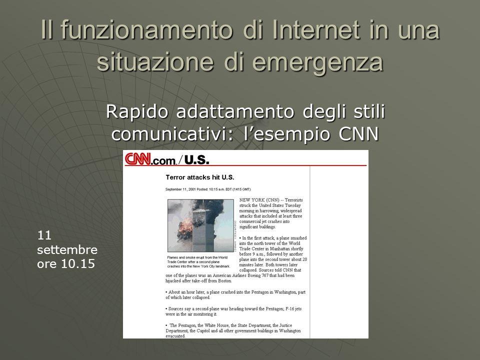 Il funzionamento di Internet in una situazione di emergenza Rapido adattamento degli stili comunicativi: lesempio CNN 11 settembre ore 10.15