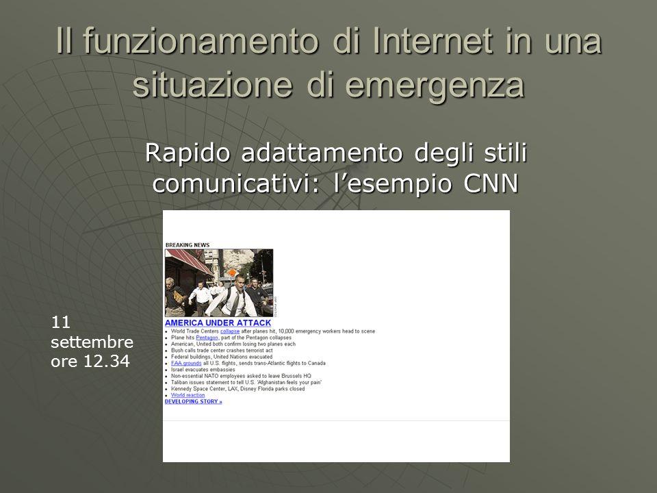 Il funzionamento di Internet in una situazione di emergenza Rapido adattamento degli stili comunicativi: lesempio CNN 11 settembre ore 12.34