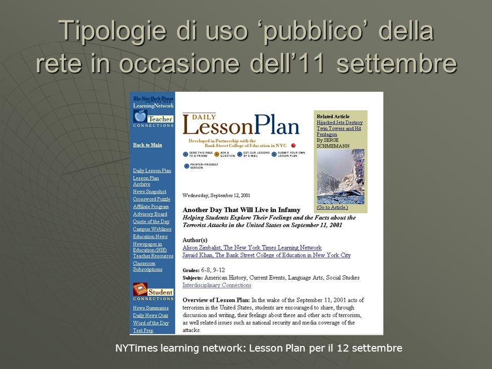 Tipologie di uso pubblico della rete in occasione dell11 settembre NYTimes learning network: Lesson Plan per il 12 settembre