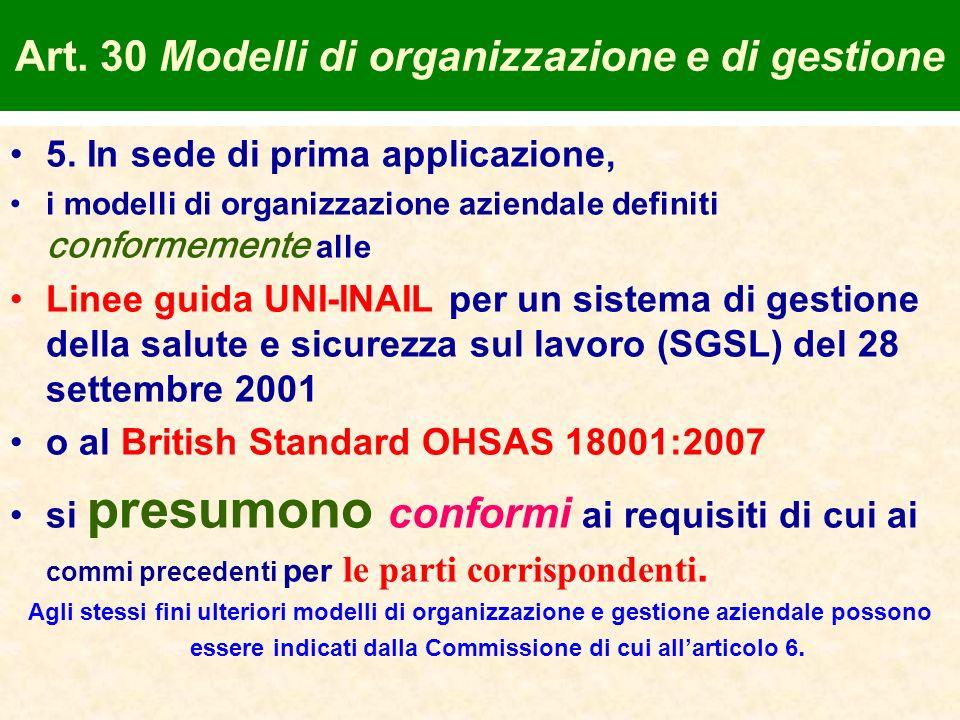 Art. 30 Modelli di organizzazione e di gestione 5. In sede di prima applicazione, i modelli di organizzazione aziendale definiti conformemente alle Li