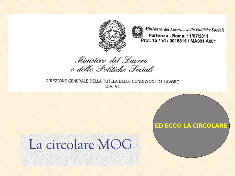 La circolare MOG ED ECCO LA CIRCOLARE