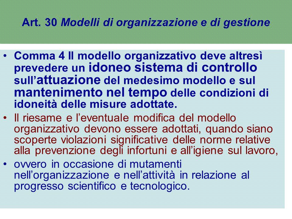 Art. 30 Modelli di organizzazione e di gestione Comma 4 Il modello organizzativo deve altresì prevedere un idoneo sistema di controllo sull attuazione