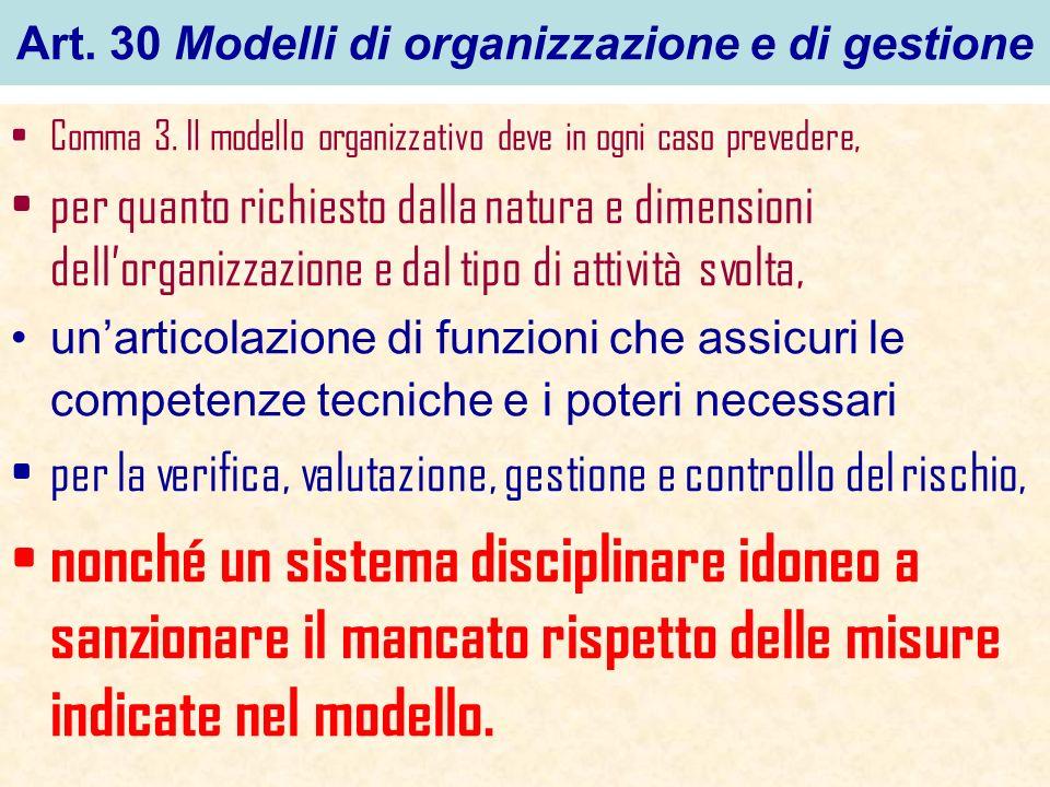 Art. 30 Modelli di organizzazione e di gestione Comma 3. Il modello organizzativo deve in ogni caso prevedere, per quanto richiesto dalla natura e dim