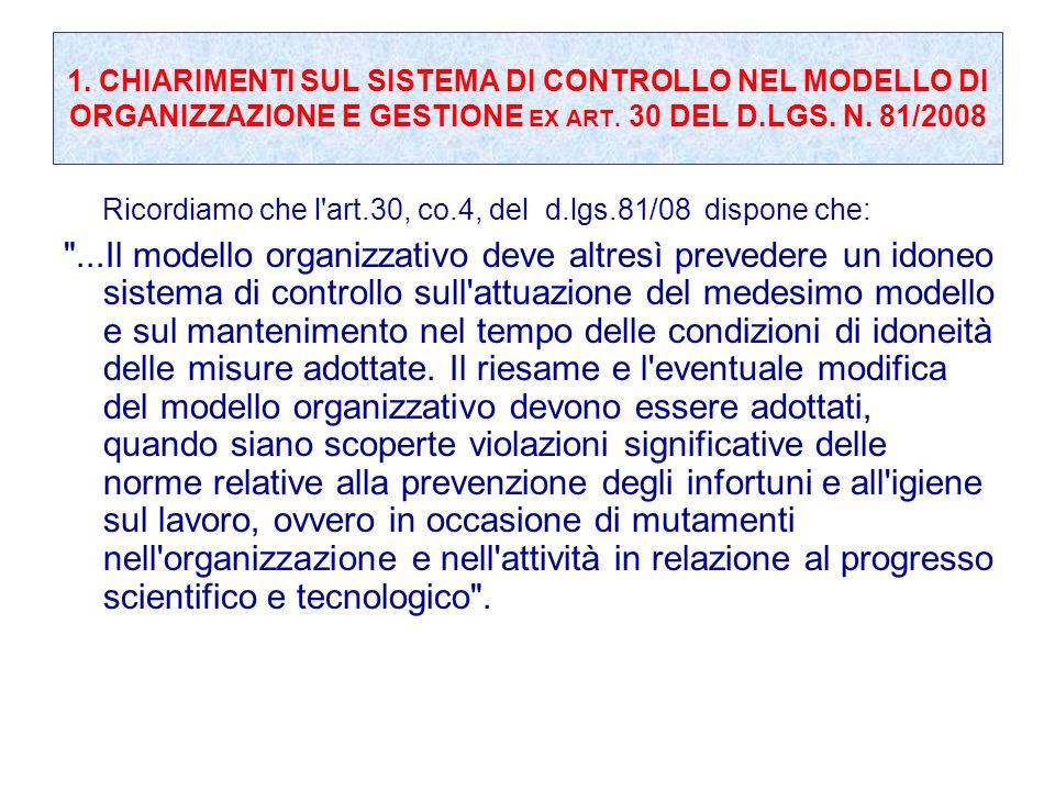 1. CHIARIMENTI SUL SISTEMA DI CONTROLLO NEL MODELLO DI ORGANIZZAZIONE E GESTIONE EX ART. 30 DEL D.LGS. N. 81/2008 Ricordiamo che l'art.30, co.4, del d