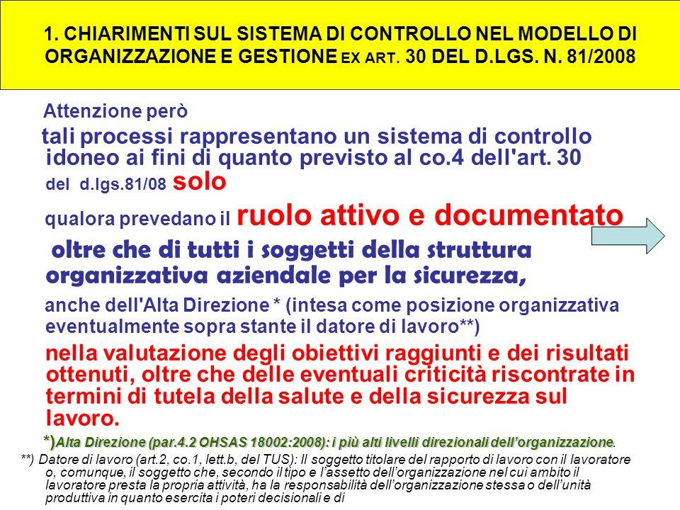 1. CHIARIMENTI SUL SISTEMA DI CONTROLLO NEL MODELLO DI ORGANIZZAZIONE E GESTIONE EX ART. 30 DEL D.LGS. N. 81/2008 Attenzione però tali processi rappre