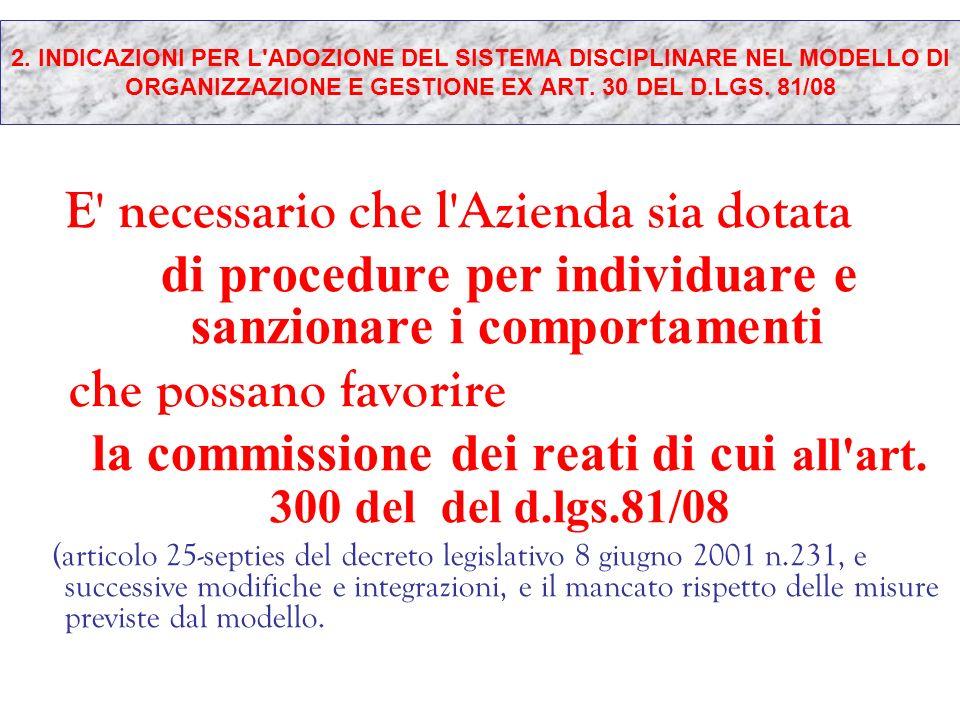 2. INDICAZIONI PER L'ADOZIONE DEL SISTEMA DISCIPLINARE NEL MODELLO DI ORGANIZZAZIONE E GESTIONE EX ART. 30 DEL D.LGS. 81/08 E' necessario che l'Aziend
