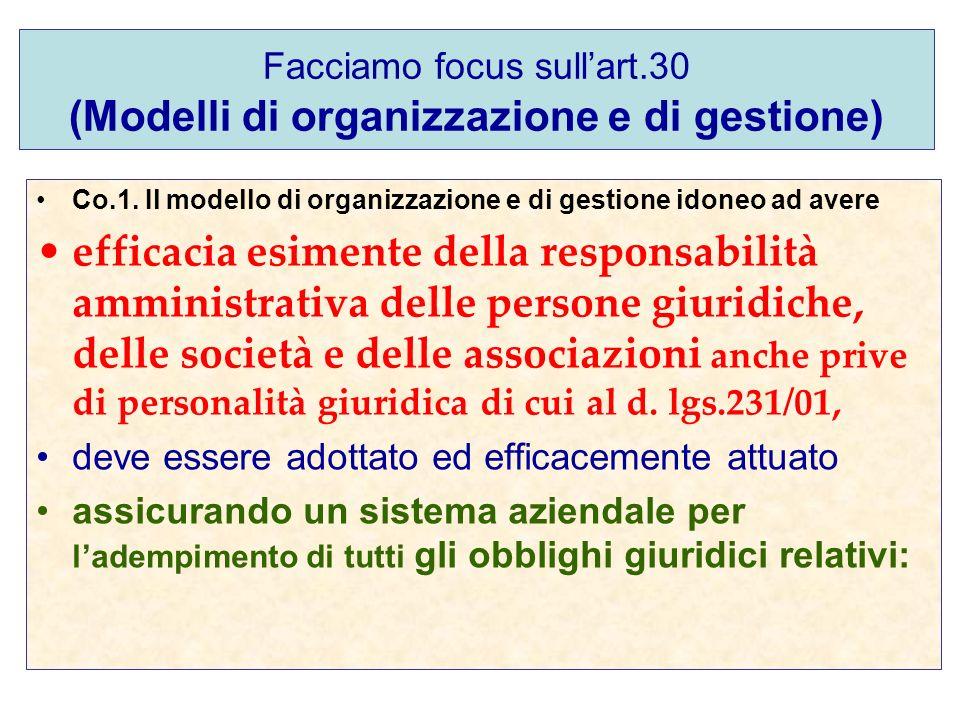 Facciamo focus sullart.30 (Modelli di organizzazione e di gestione) Co.1. Il modello di organizzazione e di gestione idoneo ad avere efficacia esiment