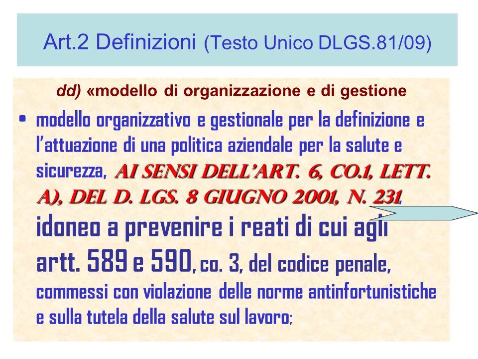 Art.2 Definizioni (Testo Unico DLGS.81/09) dd) «modello di organizzazione e di gestione ai sensi dellart. 6, co.1, lett. a), del d. lgs. 8 giugno 2001