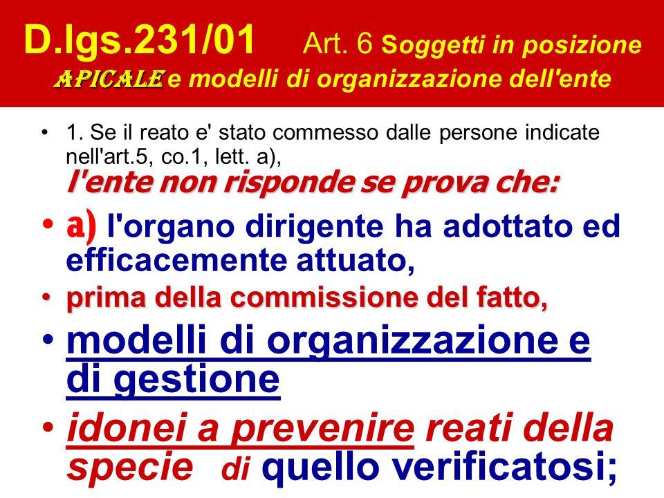 apicale D.lgs.231/01 Art. 6 Soggetti in posizione apicale e modelli di organizzazione dell'ente l'ente non risponde se prova che:1. Se il reato e' sta