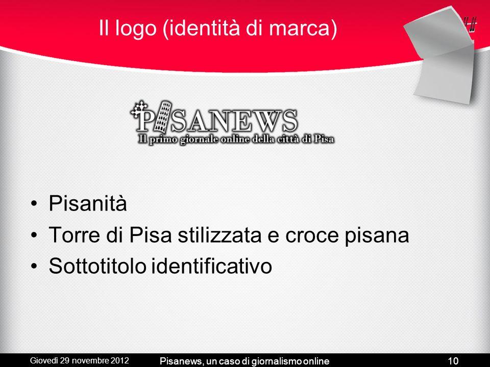 Giovedì 29 novembre 2012 Pisanews, un caso di giornalismo online9 Requisiti e Web design Wordpress Nuovo logo Colori (prevalenza rosso) Slider Social