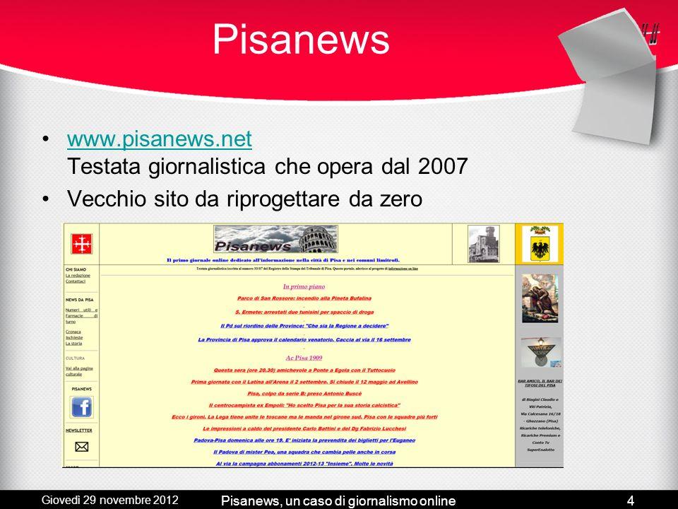 Giovedì 29 novembre 2012 Pisanews, un caso di giornalismo online3 Caratteristiche del giornalismo online Multimedialità Interattività Link Aggiornamen