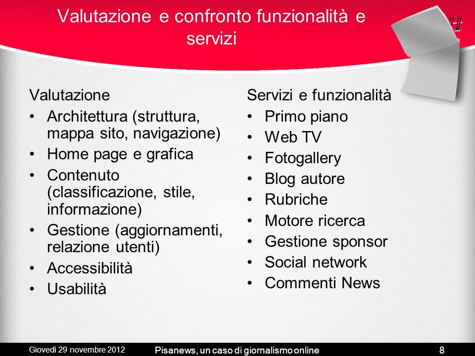Giovedì 29 novembre 2012 Pisanews, un caso di giornalismo online7 Quattro siti di informazione: Linkiesta, Lettera43, Il Post e Pisanotizie