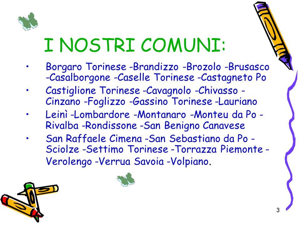 3 I NOSTRI COMUNI: Borgaro Torinese -Brandizzo -Brozolo -Brusasco -Casalborgone -Caselle Torinese -Castagneto Po Castiglione Torinese -Cavagnolo -Chiv