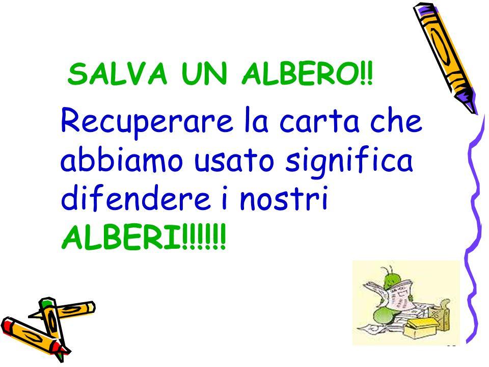 31 SALVA UN ALBERO!! Recuperare la carta che abbiamo usato significa difendere i nostri ALBERI!!!!!!