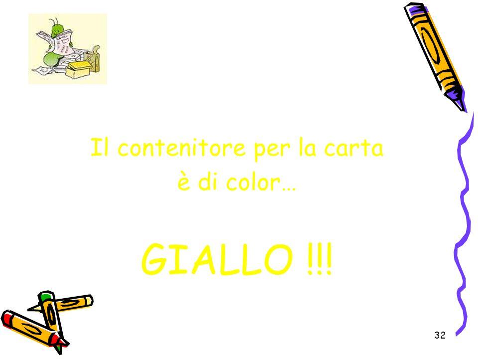 32 Il contenitore per la carta è di color… GIALLO !!!