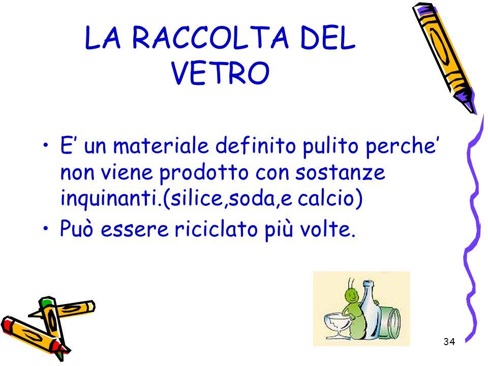34 LA RACCOLTA DEL VETRO E un materiale definito pulito perche non viene prodotto con sostanze inquinanti.(silice,soda,e calcio) Può essere riciclato