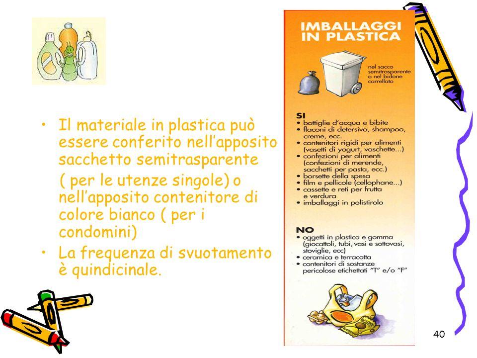 40 Il materiale in plastica può essere conferito nellapposito sacchetto semitrasparente ( per le utenze singole) o nellapposito contenitore di colore