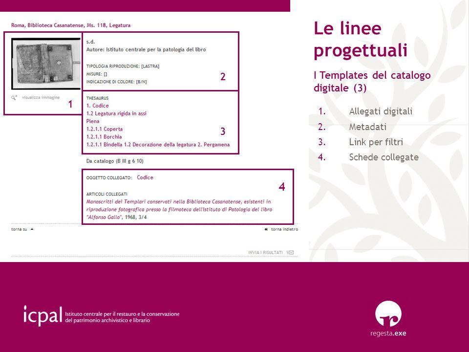 Le linee progettuali I Templates del catalogo digitale (3) 1.Allegati digitali 2.Metadati 3.Link per filtri 4.Schede collegate 1 2 3 4