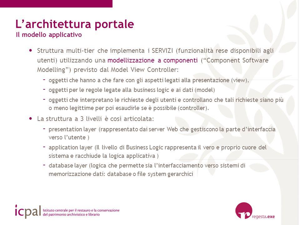 Larchitettura portale Il modello applicativo Struttura multi-tier che implementa i SERVIZI (funzionalità rese disponibili agli utenti) utilizzando una