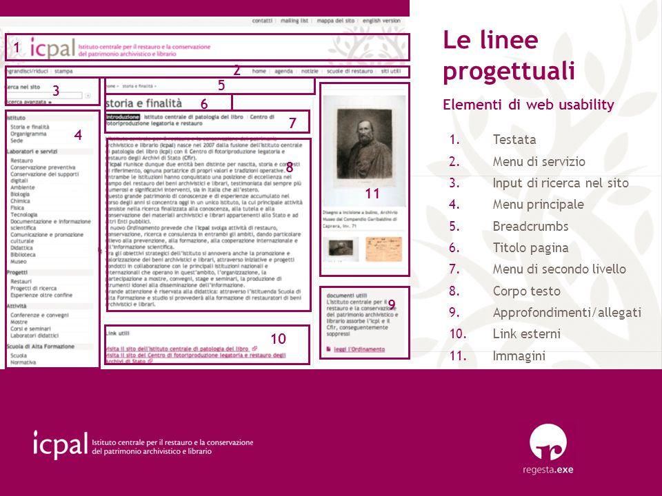Le linee progettuali Elementi di web usability 1 1.Testata 2.Menu di servizio 3.Input di ricerca nel sito 4.Menu principale 5.Breadcrumbs 6.Titolo pag