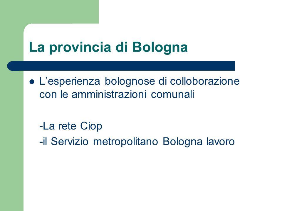 La provincia di Bologna Lesperienza bolognose di colloborazione con le amministrazioni comunali -La rete Ciop -il Servizio metropolitano Bologna lavor