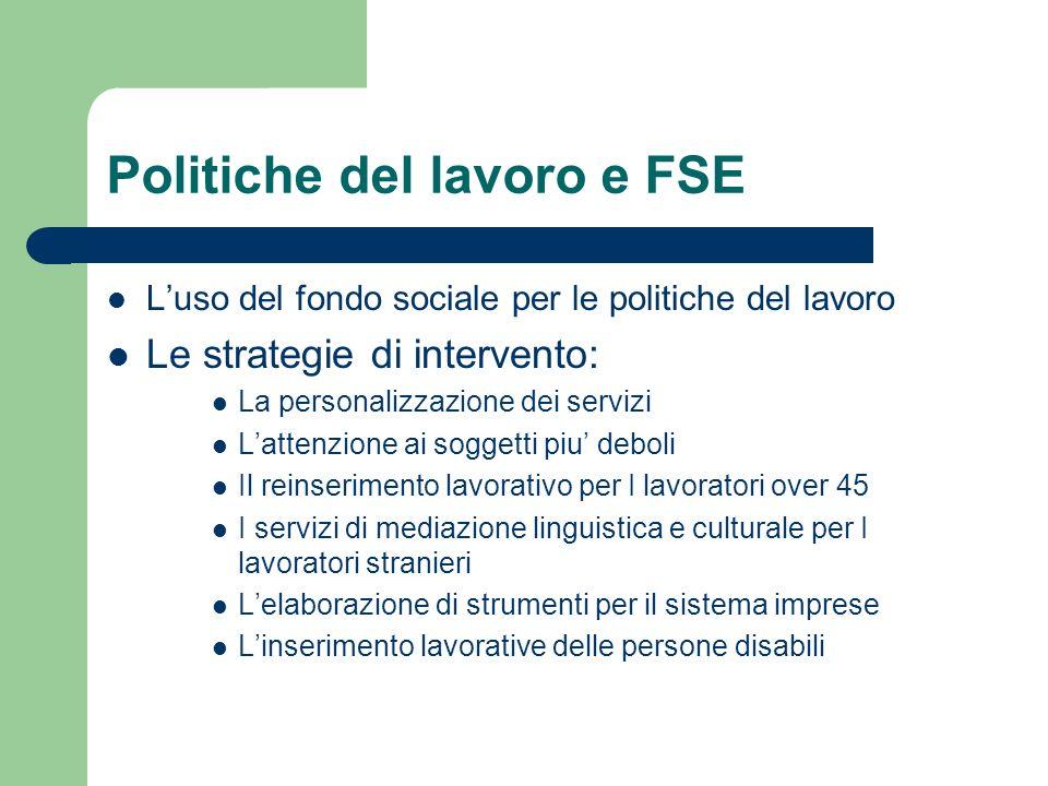 Politiche del lavoro e FSE Luso del fondo sociale per le politiche del lavoro Le strategie di intervento: La personalizzazione dei servizi Lattenzione
