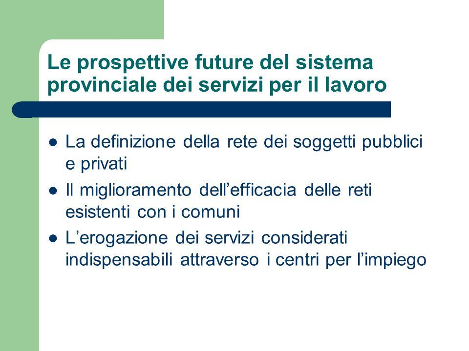 Le prospettive future del sistema provinciale dei servizi per il lavoro La definizione della rete dei soggetti pubblici e privati Il miglioramento del