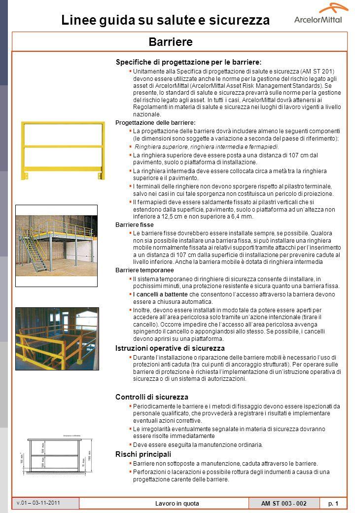Linee guida su salute e sicurezza AM ST 003 - 002 p. 1 v.01 – 03-11-2011 Lavoro in quota Specifiche di progettazione per le barriere: Unitamente alla