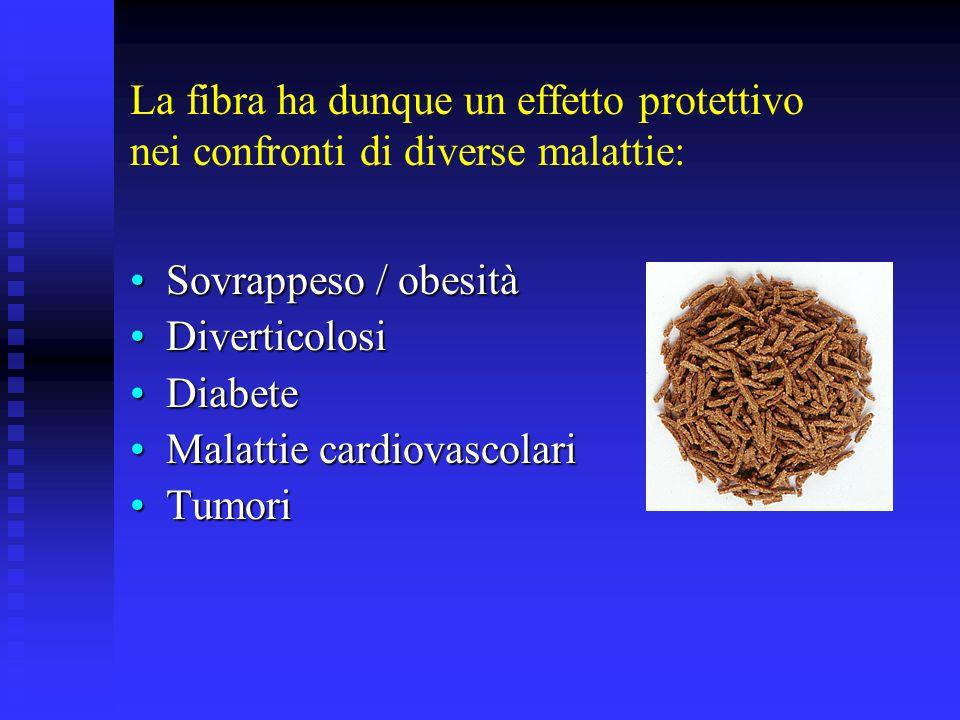 La fibra ha dunque un effetto protettivo nei confronti di diverse malattie: Sovrappeso / obesitàSovrappeso / obesità DiverticolosiDiverticolosi Diabet