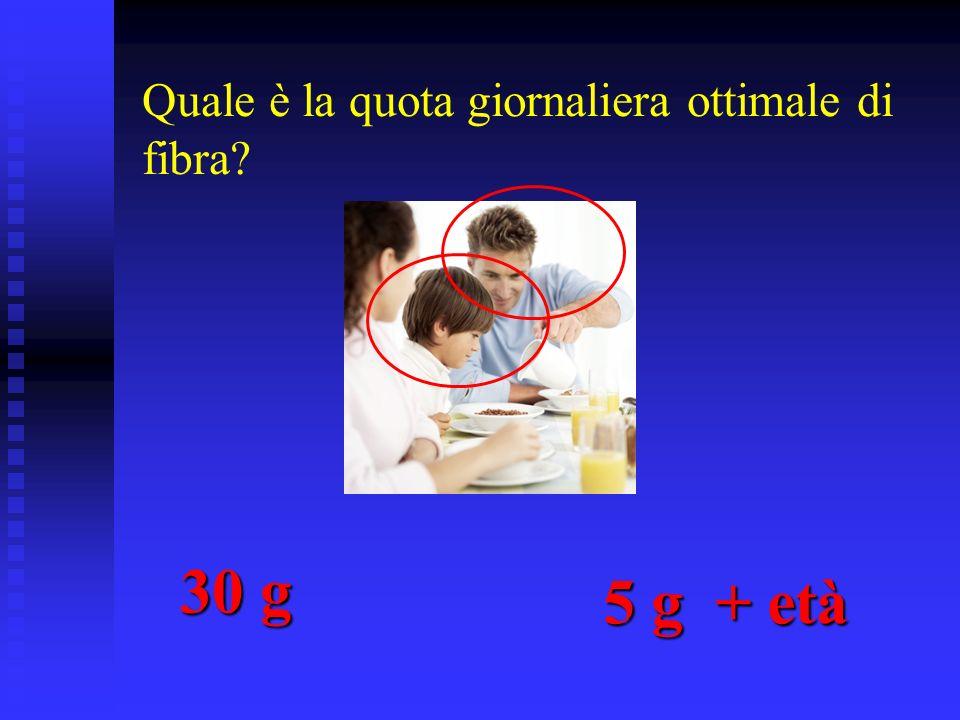 Quale è la quota giornaliera ottimale di fibra? 30 g 5 g + età